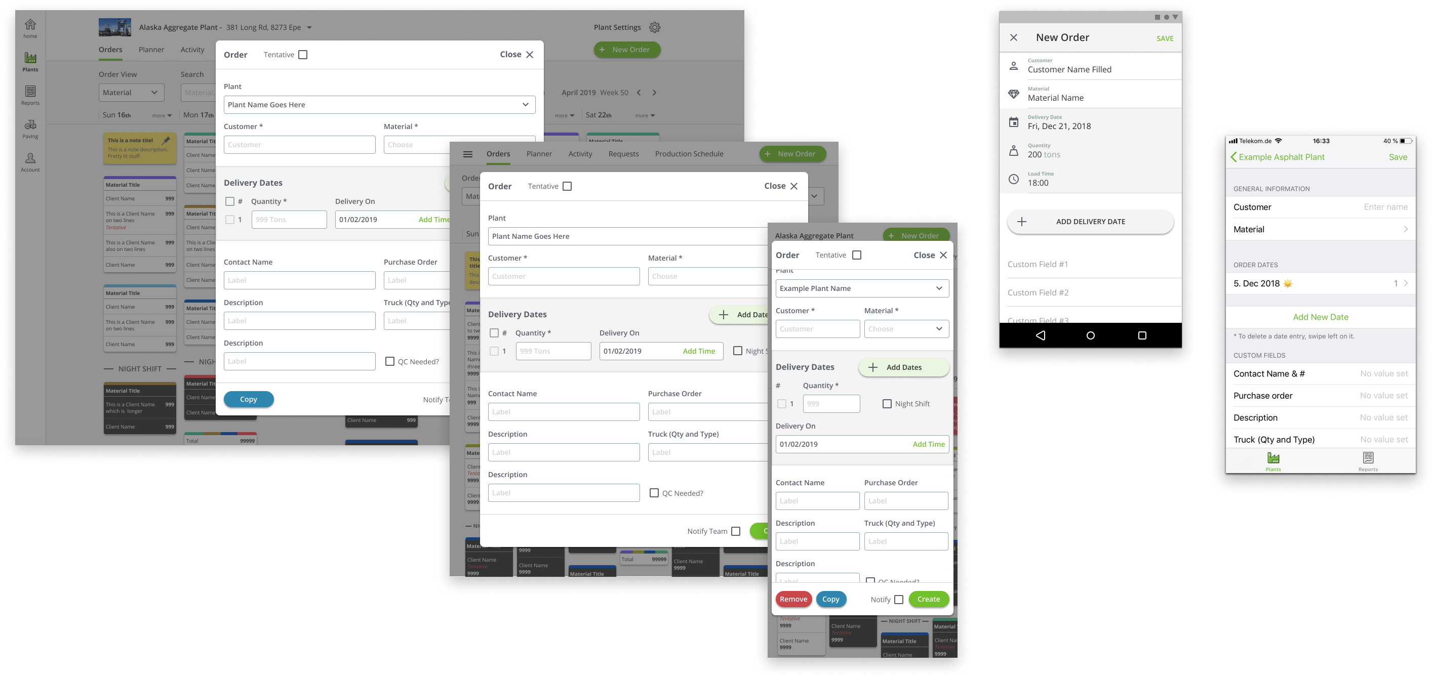 PlantDemand add order cross platform