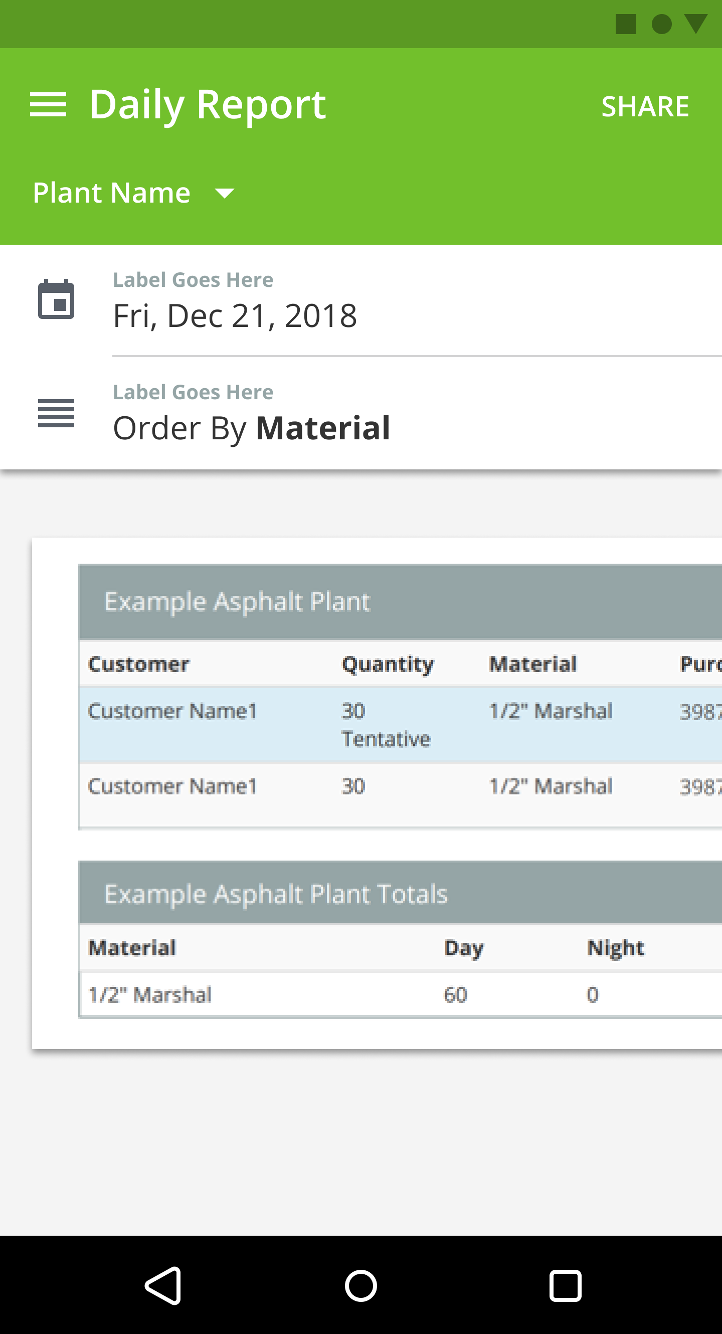 Android app PlantDemand daily report