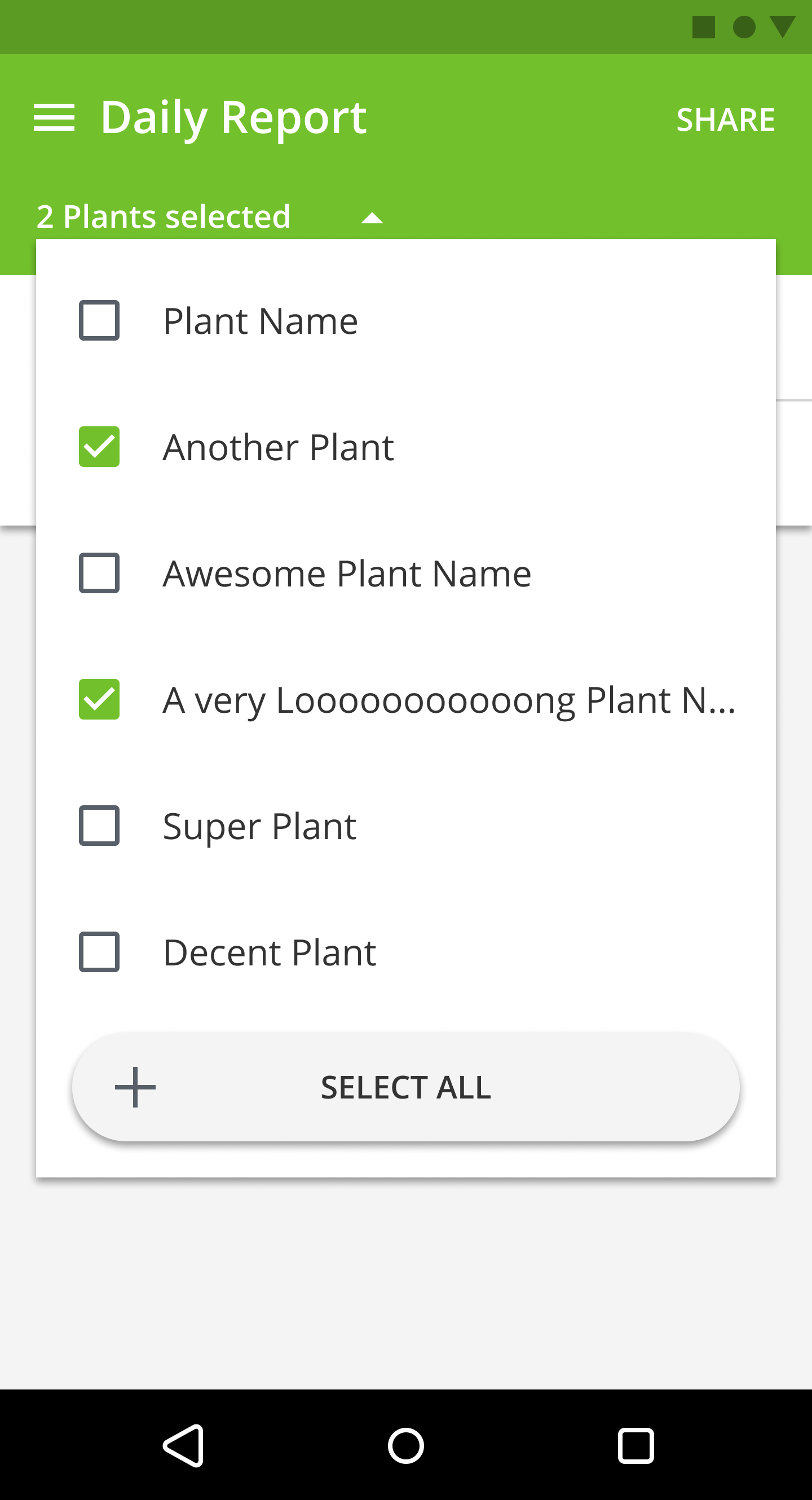 Android app PlantDemand plant selector