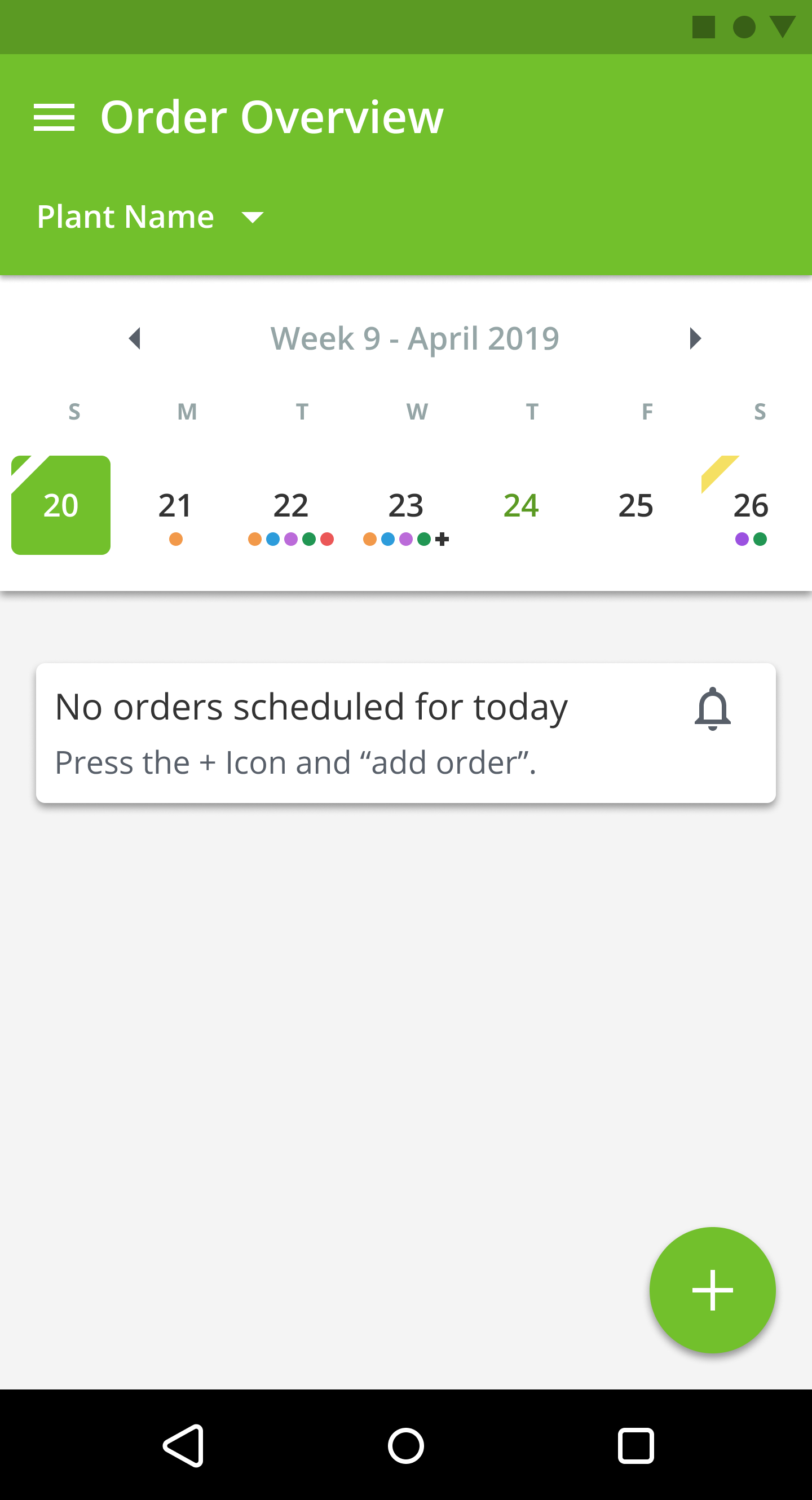 Android app PlantDemand Order Overview empty
