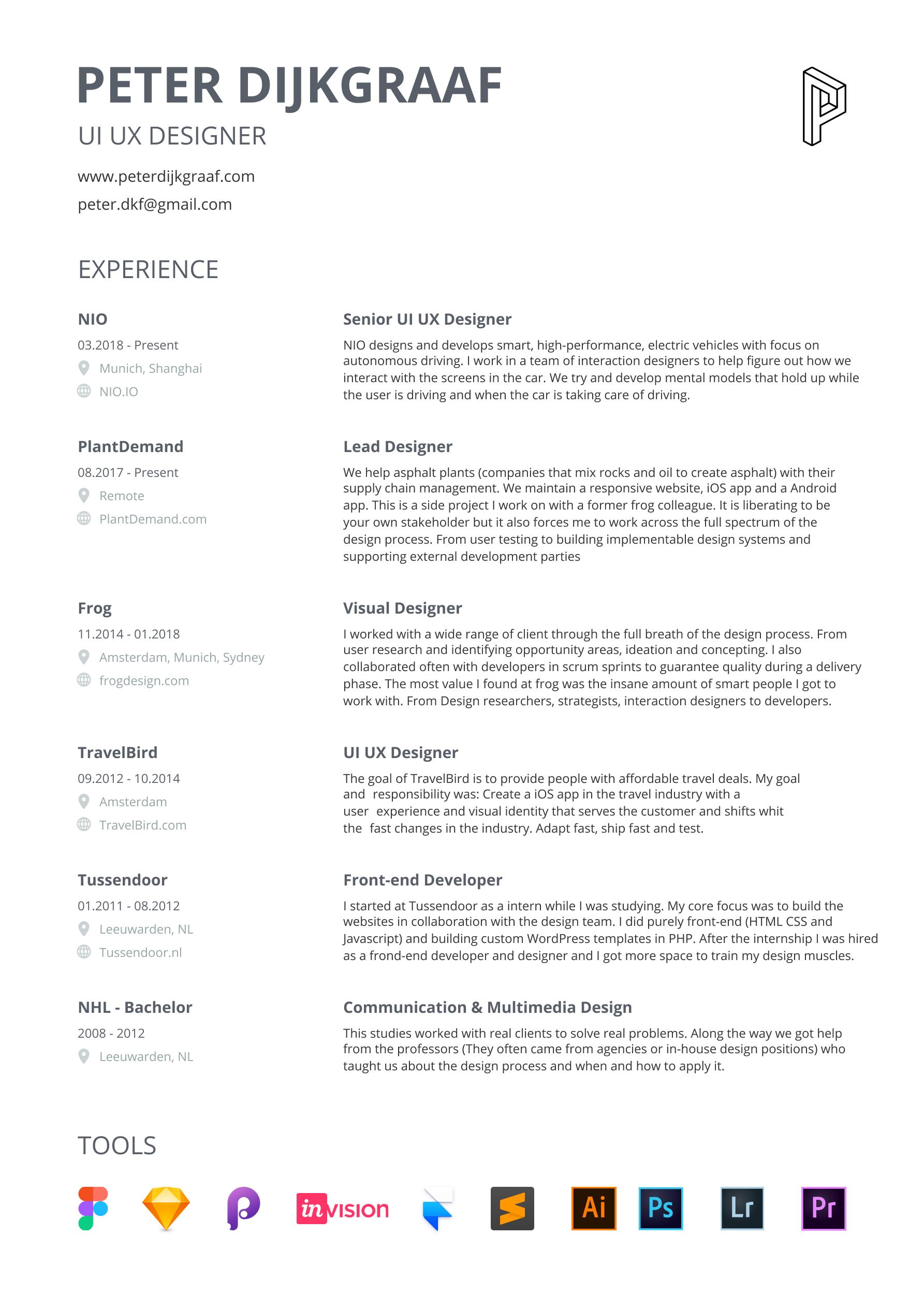 resume CV Peter Dijkgraaf